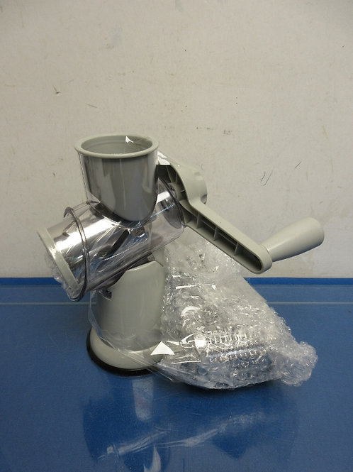 House to Home, gray rotary countertop suction slicer and grater, 3 barrels
