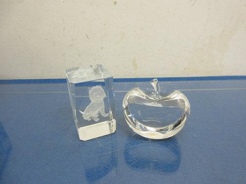 "pair of glass paper weights, both 3"" tall-- block with etching of terrier in the"