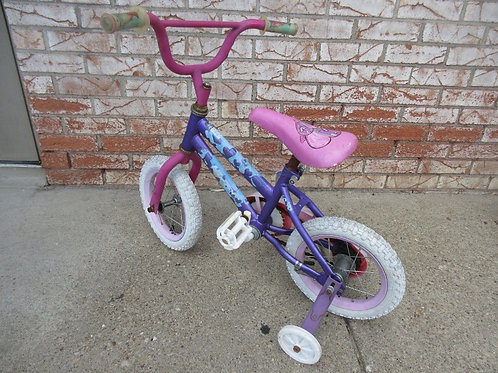 """Small 12"""" pink and purple girls bike with training wheels"""