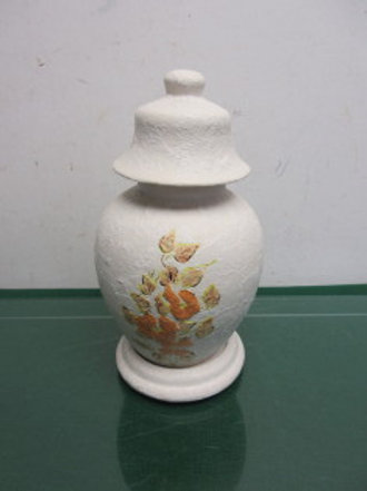 "White ceramic ginger jar , floral design, with base and lid, 10"" high"