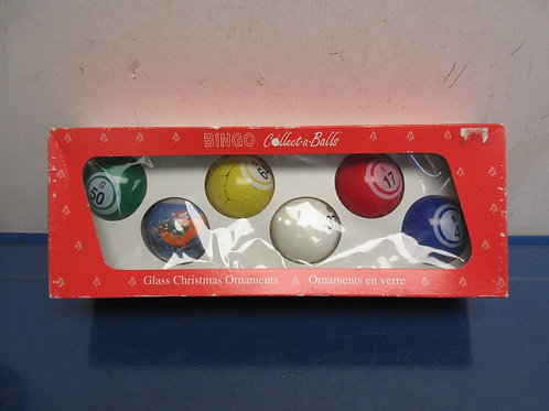 Vintage box of bingo christmas ornaments