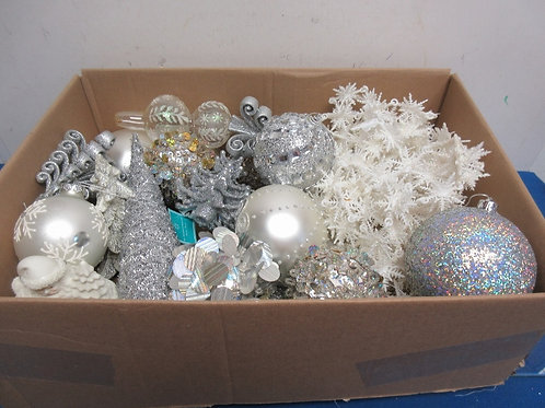 Large box of assorted silver and white tree decorations