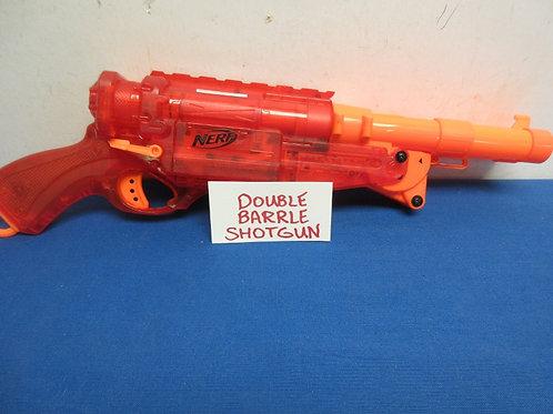 Nerf red and orange double barrel shotgun - holds 2 darts