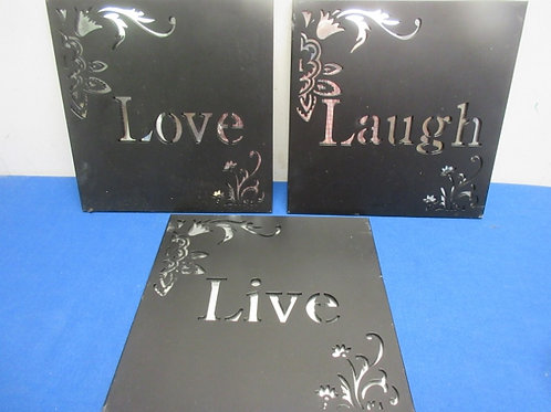 Set of 3 black metal sq. wall hangings w/mirrored background. Live,Laugh,Love
