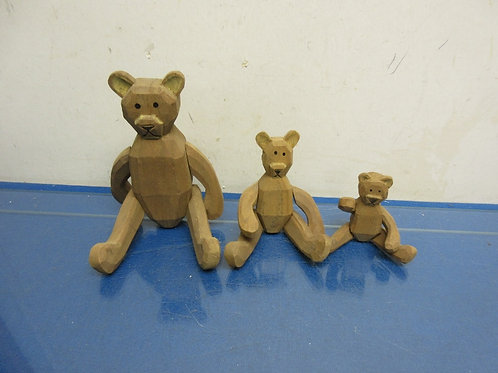 Set of 3 wood bears with moveable parts, 3 different sizes