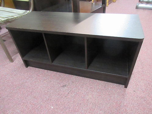 Espresso tone low tv stand with 3 cubby storage compartments - 35x14x16