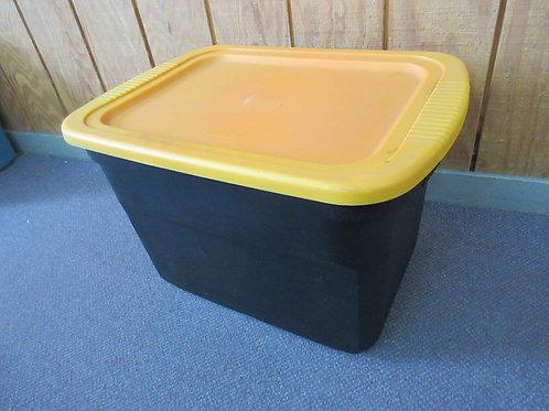 "Black storage container with orange lid 17x22x16""high"