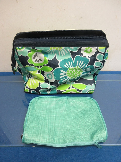 Thirty One green floral insulated lunch bag & cosmetic bag