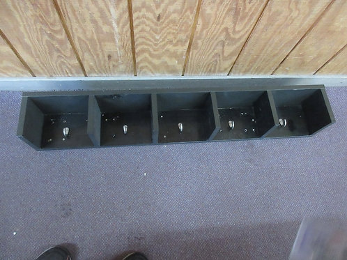 "Black wall shelf 46""long x 7"" deep with 5 coat hooks"