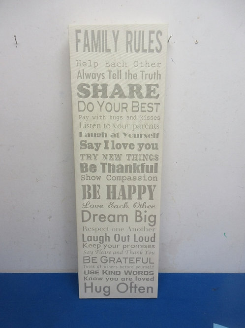 """Vertical wall plaque """"Family Rules"""" 7x24"""""""