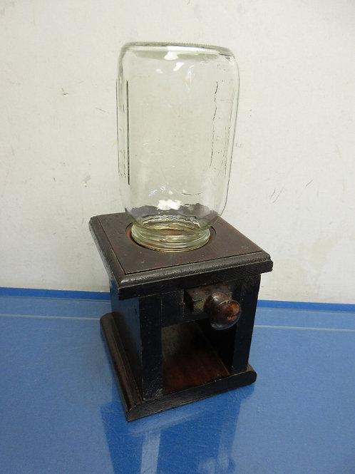 Handmade candy dispenser, dark wood