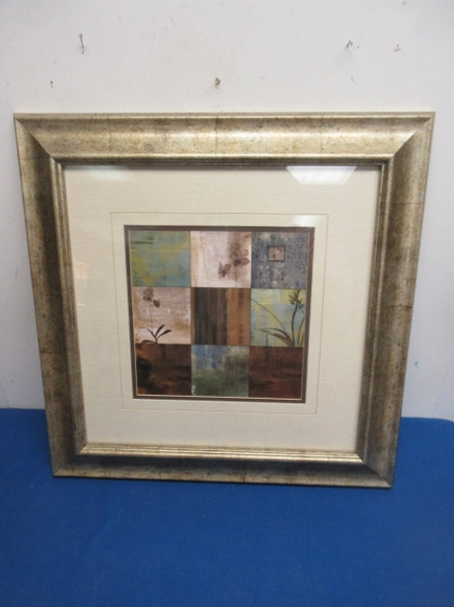 "Gold frame 9 squares, floral print, 20x21"""