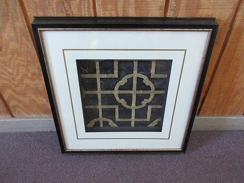 "Shadow box style geometric design wall art, white mat & black frame 20x20"""
