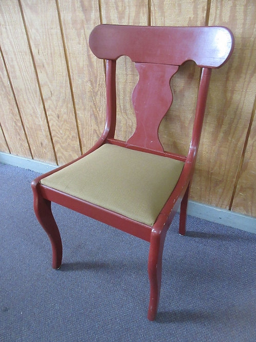 Red vintage wooden accent chair with gold upholstered seat