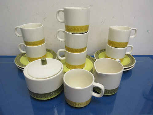 "Set of vintage ""lima Green"" cups, saucers, sugar & creamer, 16 pieces"