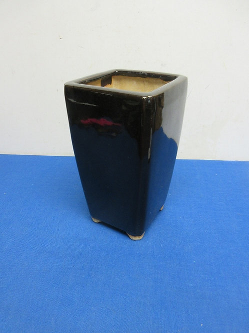 "Tall square black ceramic flower pot, 5x5x9""high"