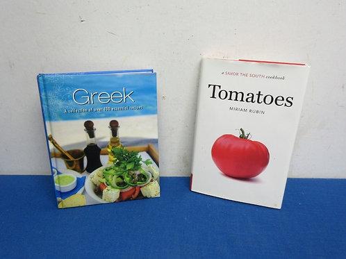 Pair of hardback bookbooks, greek recipes, Tomato savor the south cookbook