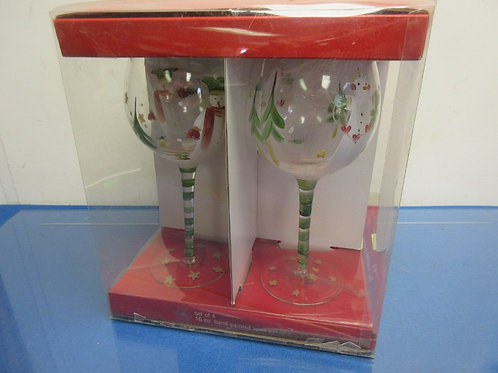 Set of 4 holiday hand-painted wine goblets 16oz glasses-new in box