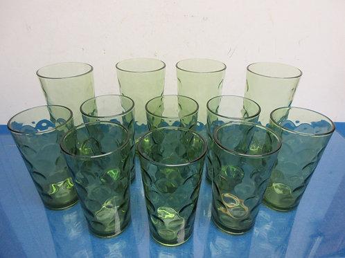 Vintage set of green glass tumblers, 8 short & 3 taller