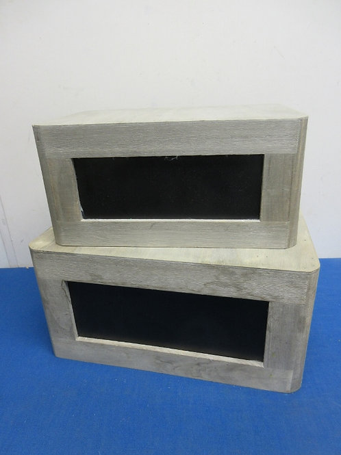 """Pair of nesting wooden gray and black crates,10x14x7"""" and 8x12x6""""high"""
