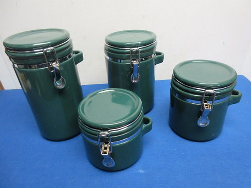 Set of 4 locking green canisters