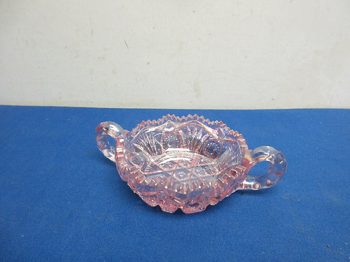 Pink cut glass small dish with handles
