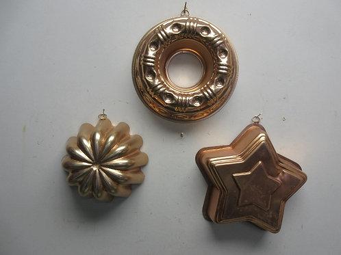 Set of 3 copper jello molds