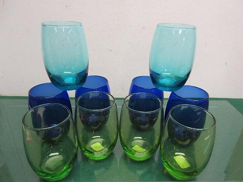 Set of 10 multi colored stemless wine glasses