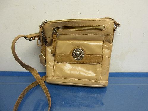 Giani Bernini tan leather crossbody purse with multi compartments