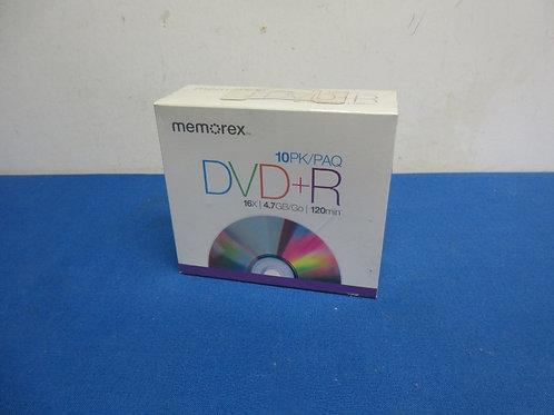 Memorex DVD+ R, 10 pack, new