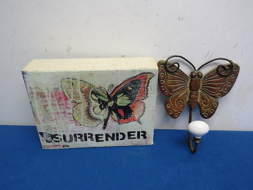 Pair of butterfly items, small picture and metal wall hook