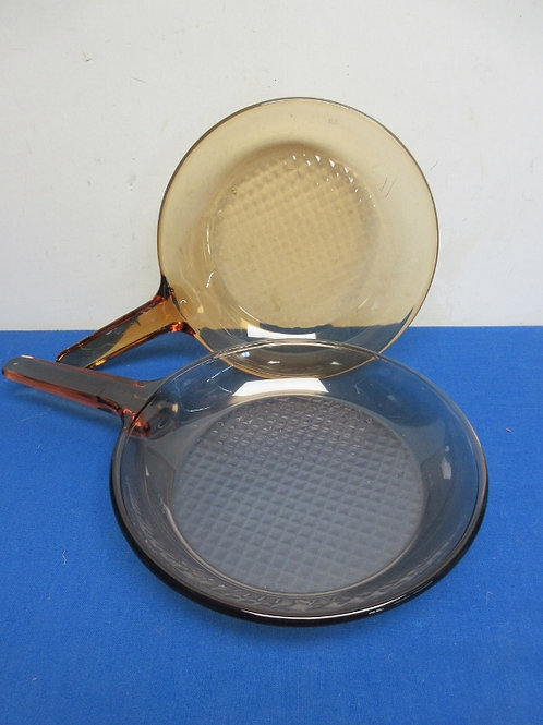 """Pair of brown vision corning glass frypans - 10"""" and 11"""" no lids"""