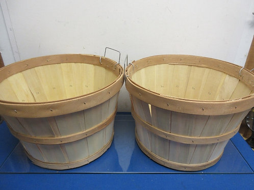 Set of 2 bushel style baskets with metal handles, medium size but tall