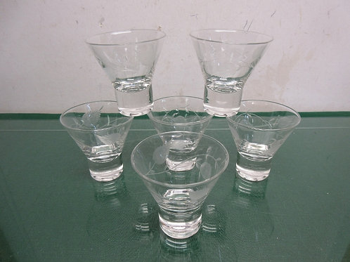 Set of 6 etched glass martini glasses