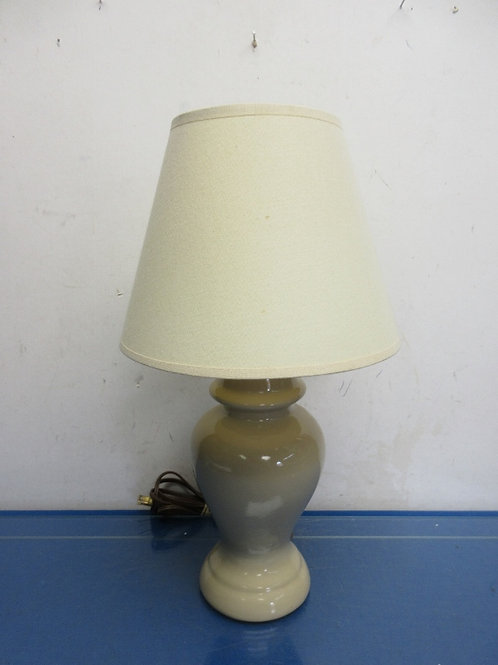"Small tan ceramic ginger jar lamp withj ivory shade - 17"" high"