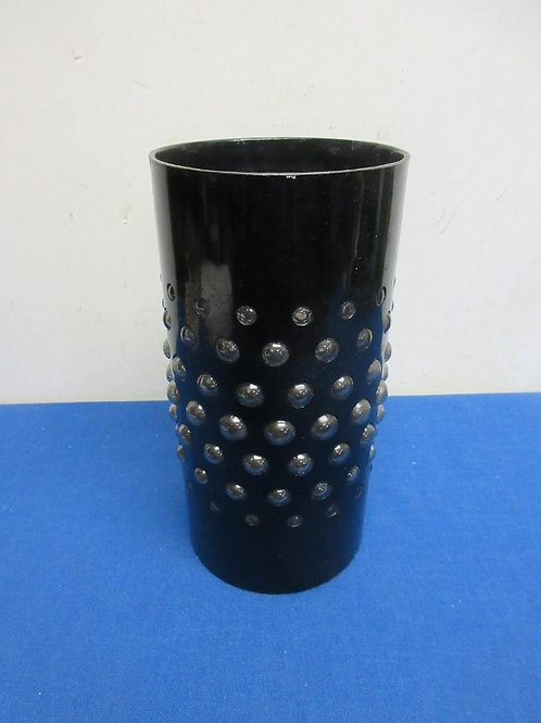 """Black cylinder bubble glass style candle holder - 9"""""""