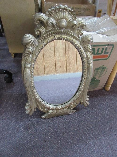 "Silver ornate oval framed mirror with black speckle design 24x15"""