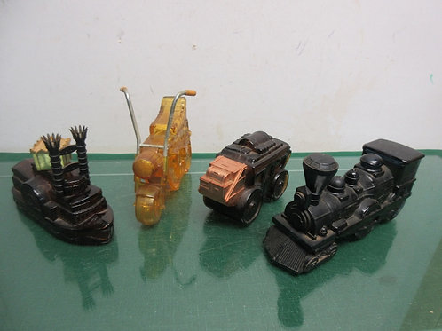 Vintage set of 4 Avon bottles, motorcycle, train, stage coach, riverboat