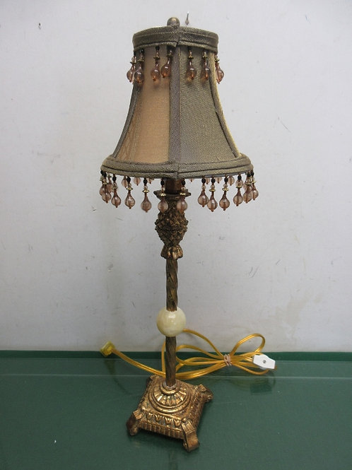Gold stick lamp with beaded shade