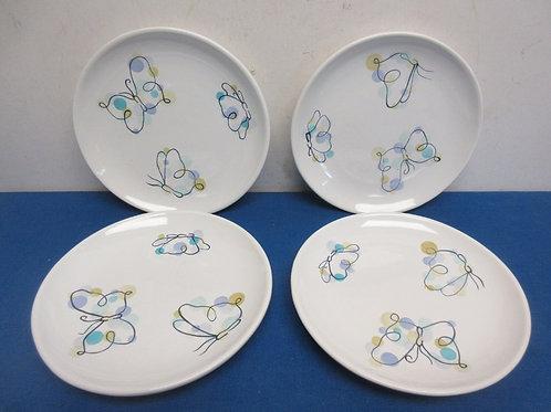 Set of 4 Pottery Barn, butterfly theme sandwich plates