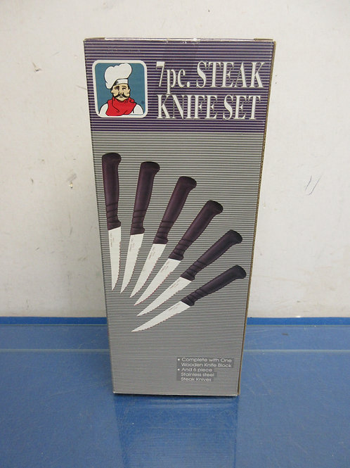 Knife set-7pc includes wooden block-stainless steel knives-new in box