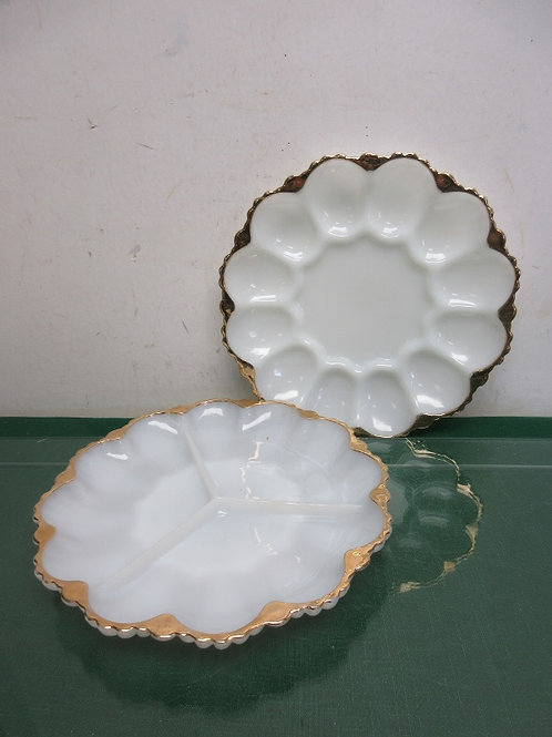 Pair of white glass serving plates, 3 section and deviled egg