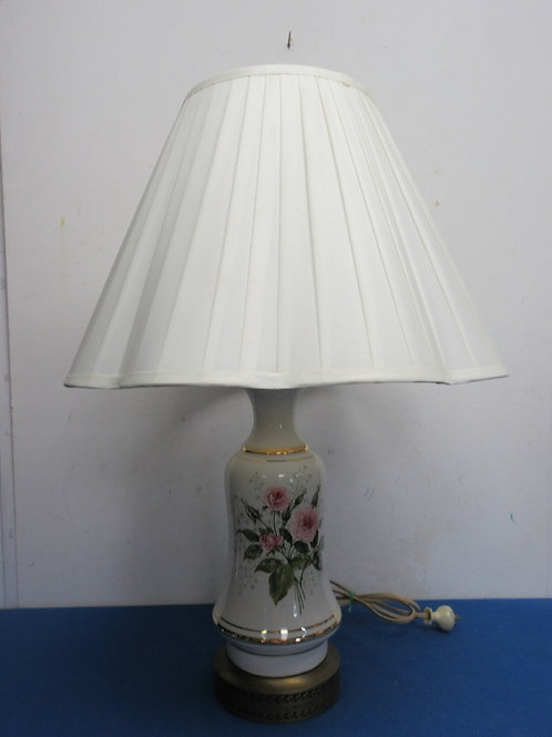 """White ceramic table lamp with gold base rose design and white shade 26"""" high"""