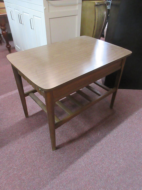 Mid century brown formica end table with bottom shelf20x30x22""