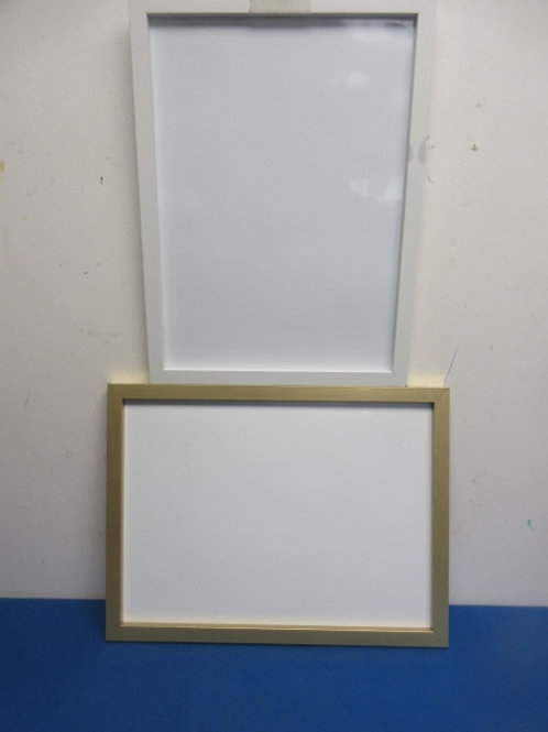Set of 2 white boards - (1) white frame and (1) gold frame - each 12x16