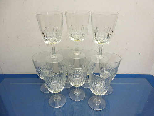 Set of 10 cut glass stemmed wine glasses