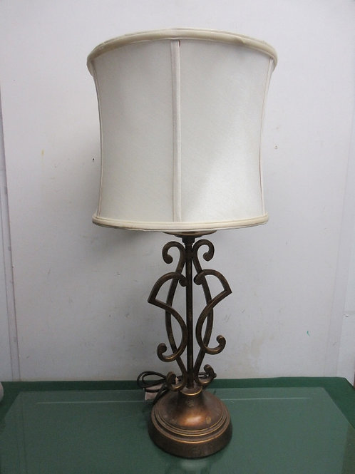"""Gold metal scroll design table lamp with white shade, 28""""high, 2 available"""