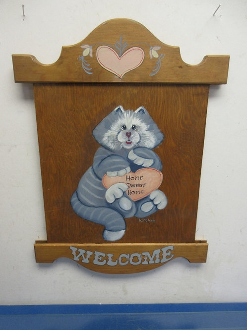 """Wood wall plaque with cat painted """"welcome"""" - 19x14"""