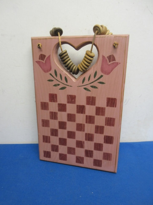 """Pink country wall hanging with heart cut out 9x13"""""""