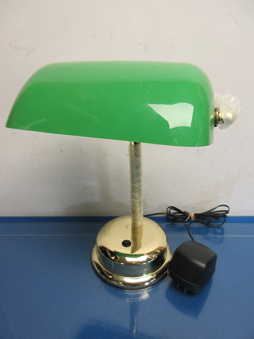 Bankers style lamp-green plastic shade, electric or battery